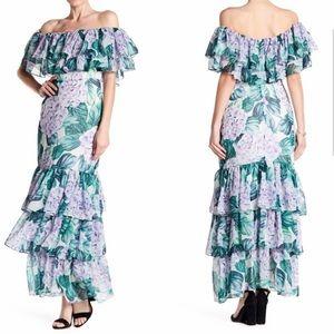 Alexia Admor Palm Ruffle Tiered Maxi Dress Size 4